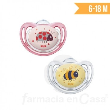 NUK CHUPETE FREESTYLE LITTLE FRIENDS SILICONA 6-18M 2 UDS