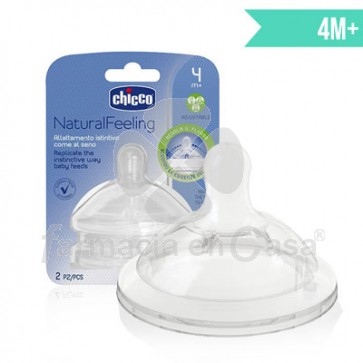 Chicco Natural feeling tetina silicona flujo regulable 4m+ 2 uds