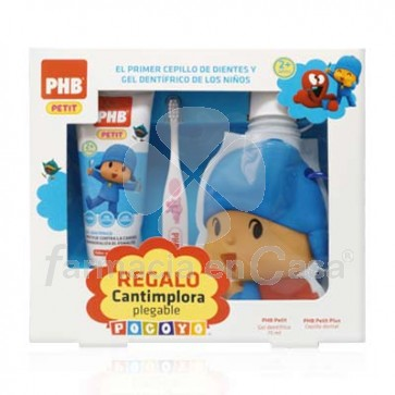 PHB Petit caída diente cepillo dental pocoyó+gel 75ml+cantimplora