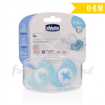 Chicco Chupete silicona physio air 0-6m+ azul 2 uds