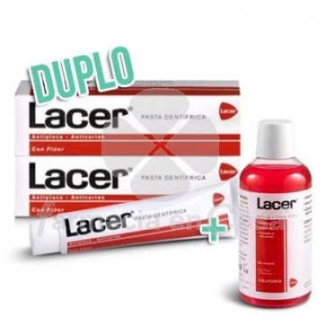 Lacer Pasta dental fluor duplo 2x125 ml + colutorio 200 ml