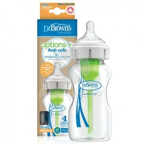 Dr Browns Biberon Vidrio Boca Ancha Anticolico Silicona 0m+ 270ml