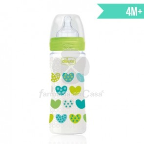 Chicco Biberon Tetina Silicona Well-Being Verde 4m+ 330ml