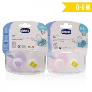 CHICCO CHUPETE SILICONA PHYSIO AIR 0-6M+ ROSA 2 UDS