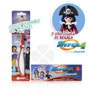 KIN SUPER 4 PLAYMOBIL CEPILLO DENTAL + DENTIFRICO 75ML + FIGURA
